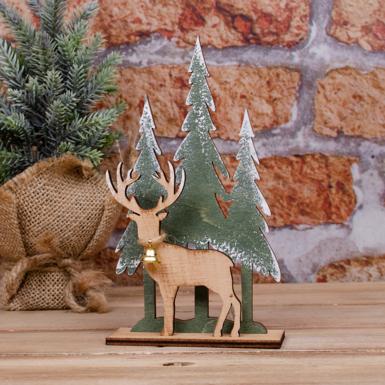 деревянная статуэтка елочка и олень