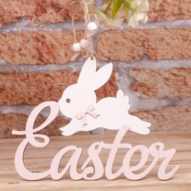 """подвеска """"Easter с зайцем"""" розовая"""
