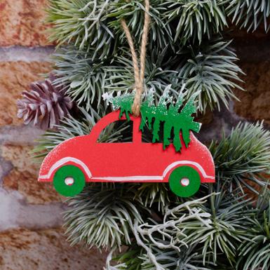 подвеска машинка  красная с елкой