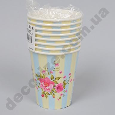 "стаканы бумажные с рисунком ""ретро цветы"" (набор 8шт)"