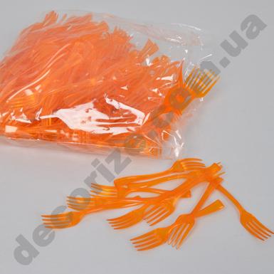 Вилка пластиковая десертная маленькая (250шт) оранжевая
