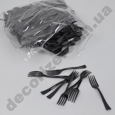Вилка пластиковая десертная маленькая (250шт) черная