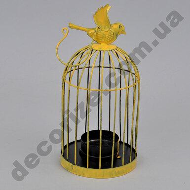 Подсвечник - клетка желтый