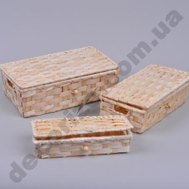 Сундук из бамбука прямоугольный (набор 3 шт)