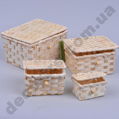 Сундучок из бамбука квадратный (набор 4 шт)