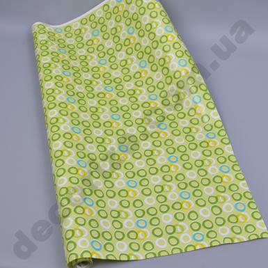 Упаковочная бумага в рулоне зеленые кружочки 70см * 10м.