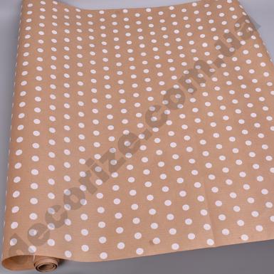 бумага белые горошки на крафте 70см * 10м.