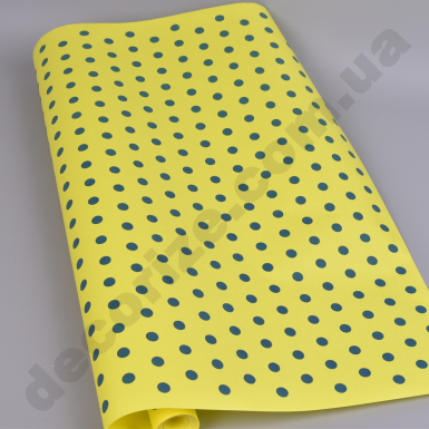 """бумага  """"горошки на желтом""""  70см * 10м."""