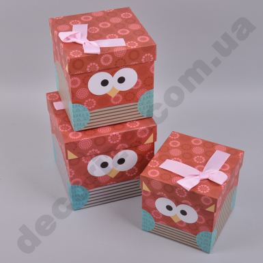 """Коробки квадратные """"сова"""" с бантиком красные"""
