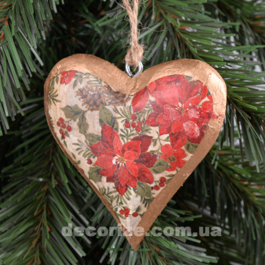 подвеска сердце из дерева с пуансетией
