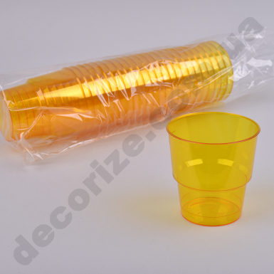 Стакан пластик желтый 0,2 (25шт)