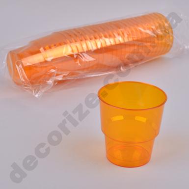 Стакан из пластика оранжевый 0,2 (25шт)