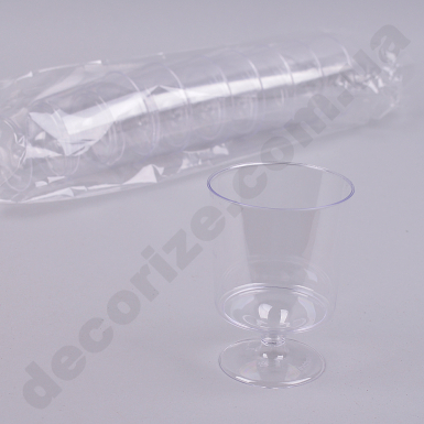 Стакан из пластика на ножке прозрачный (8 шт)