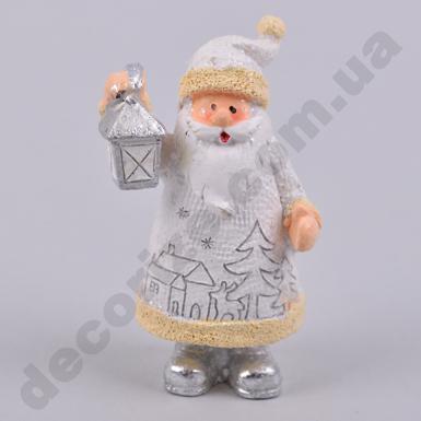 Статуэтка дед мороз белый с фонариком