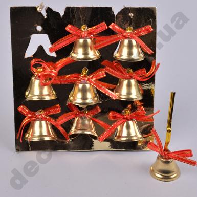 Новогодние колокольчики с красным бантом (9 шт)