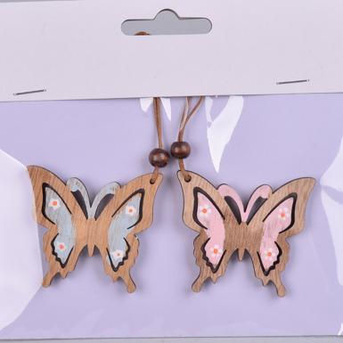Подвеска - бабочки розово-мятные
