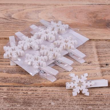 """прищіпки  з кераміки """"біла сніжинка"""""""