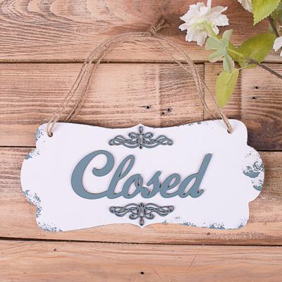 "Табличка двухсторонняя ""open closed"" лазурная"