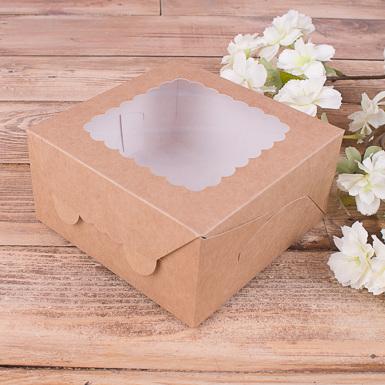 """Коробка самосборная """"коричневая с окном"""""""