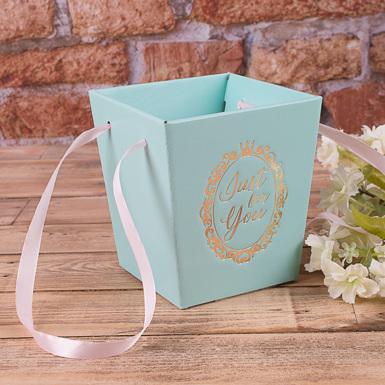коробка кашпо под цветы трапеция (мятная)
