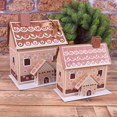 """коробка подарочная """"пряничный домик"""" (набор 2шт)"""