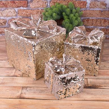 """Статуэтка""""подарки из паеток золотые большие"""" 3шт"""