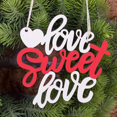 подвеска Love sweet love бело-красная