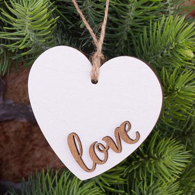сердце подвесное с коричневым Love