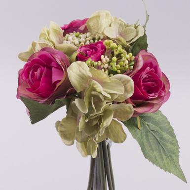 букет роза+гортензия с чесночком фуксия-салатовый