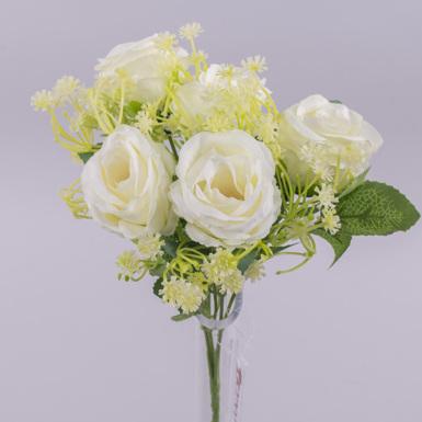 букет розы с гипсофилой