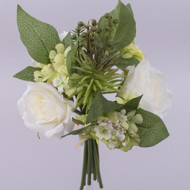 Букет розы + цвет яблони + кактус (белый)