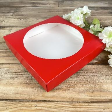 коробка с круглым окошком (красная)