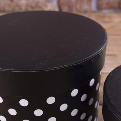 Коробки шляпные в горохи  (2шт) черные