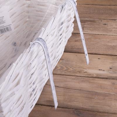 """кашпо из лозы """"балконное"""" прямоугольное маленькое (белое)"""