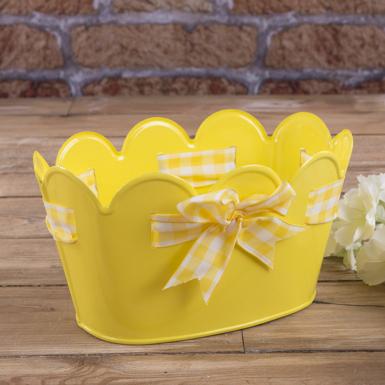 металлическое кашпо с бантиком (желтое)