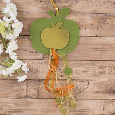 Подвеска яблочко из фетра с лентами (№5)