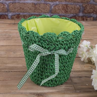 Кашпо вязаное среднее для цветов зеленое