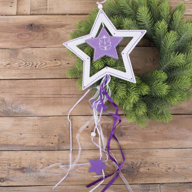"""підвіска новорічна біло - фіолетова """"зірка"""""""