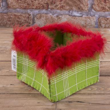 кашпо из флизелина с перьями (красное)