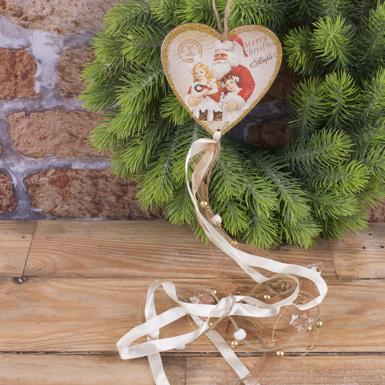 підвіска деревяна ретро серце з стрічками