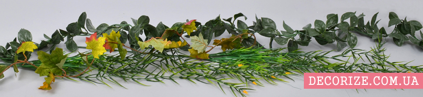 - гирлянды из цветов, свисающая зелень