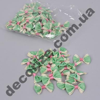 бантики тканевые зеленые (100шт)