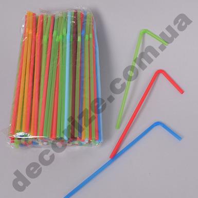 Коктейльная трубочка с гофрой разноцветная