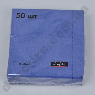 салфетки 33*33см однотонные двухслойные синие (50шт)