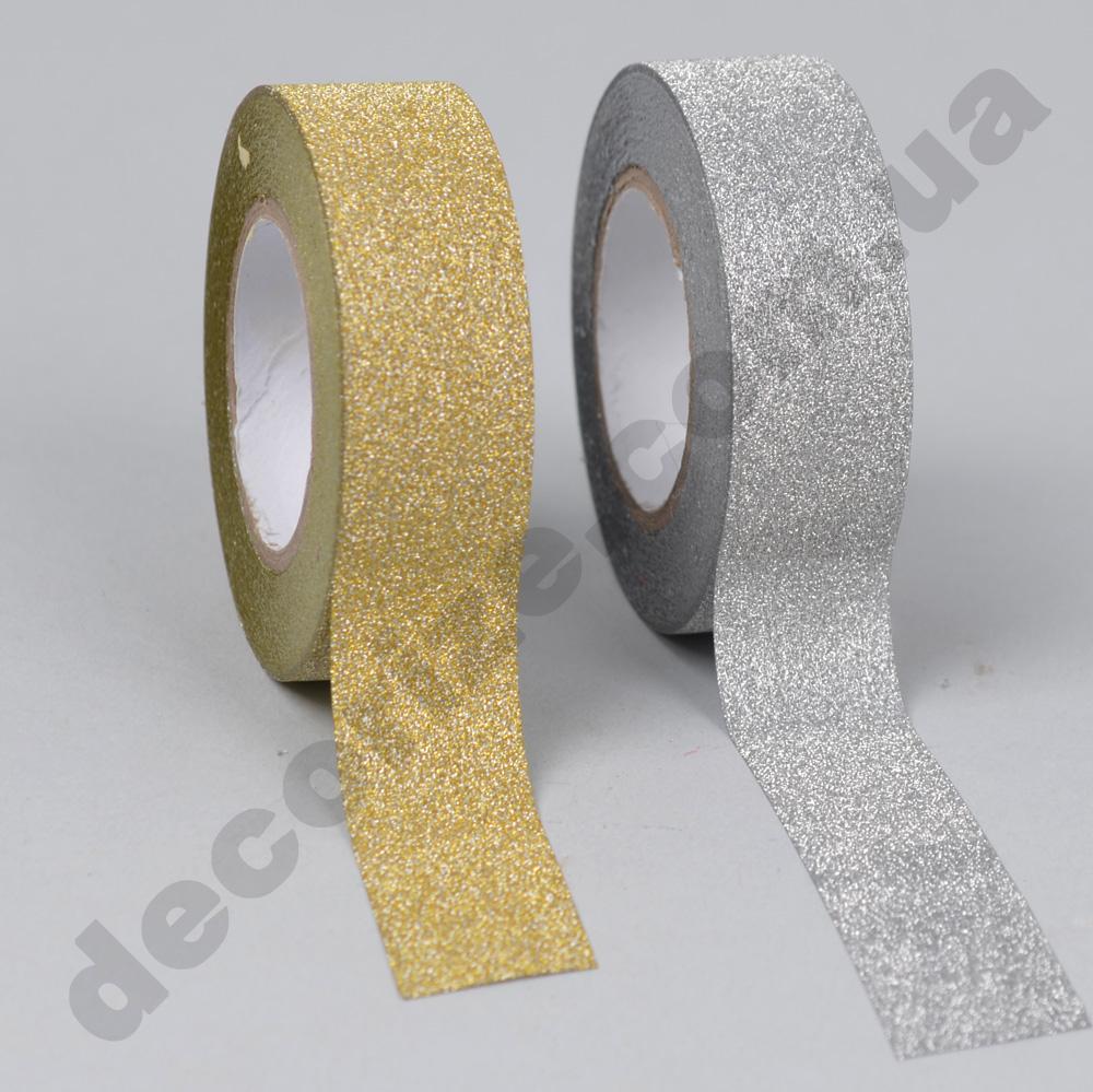 скотч в блискітках срібний або золотий