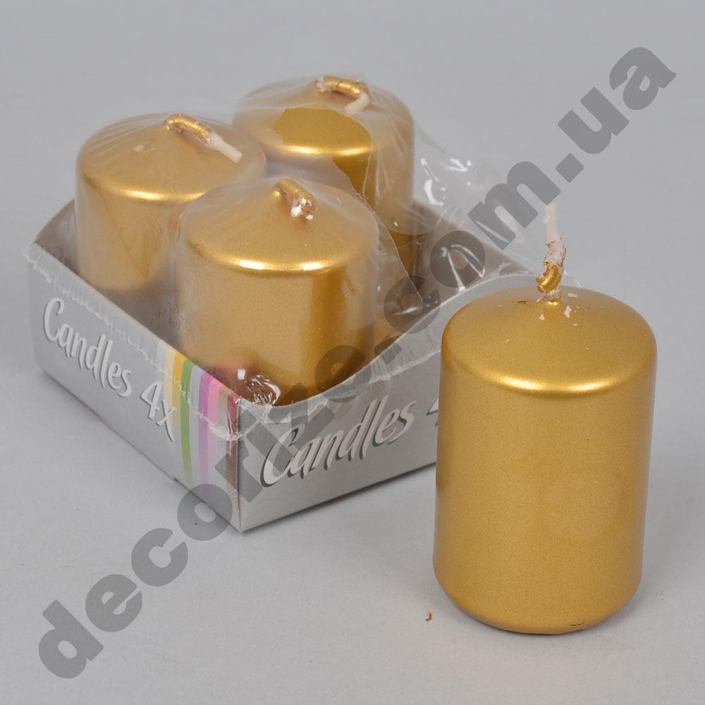 Свечи малые 5,5см (набор 4шт) золотые