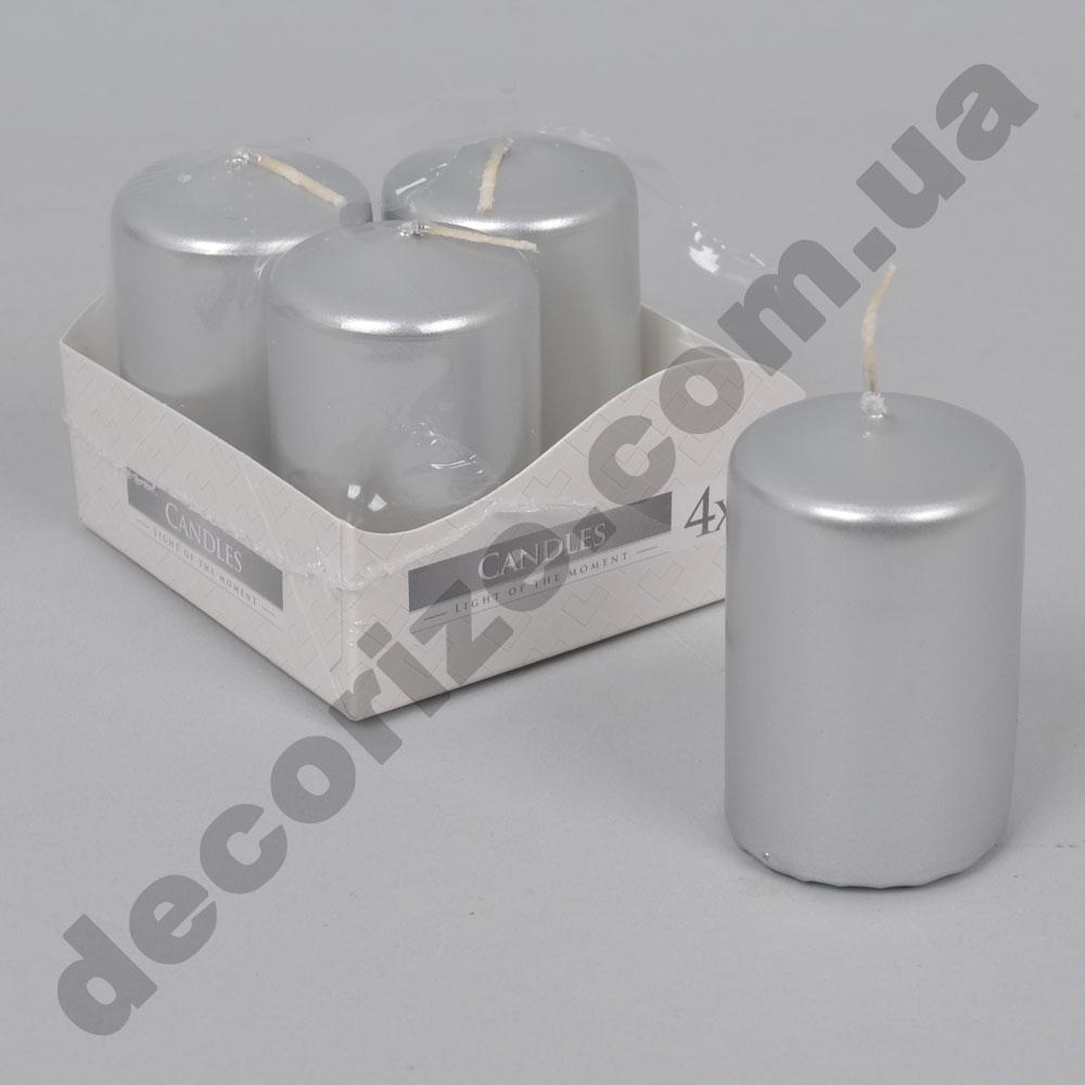 Свечи малые 5,5см  (набор 4шт) серебро
