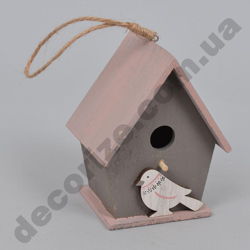 Підвіска будинок для пташок з рожевим дахом