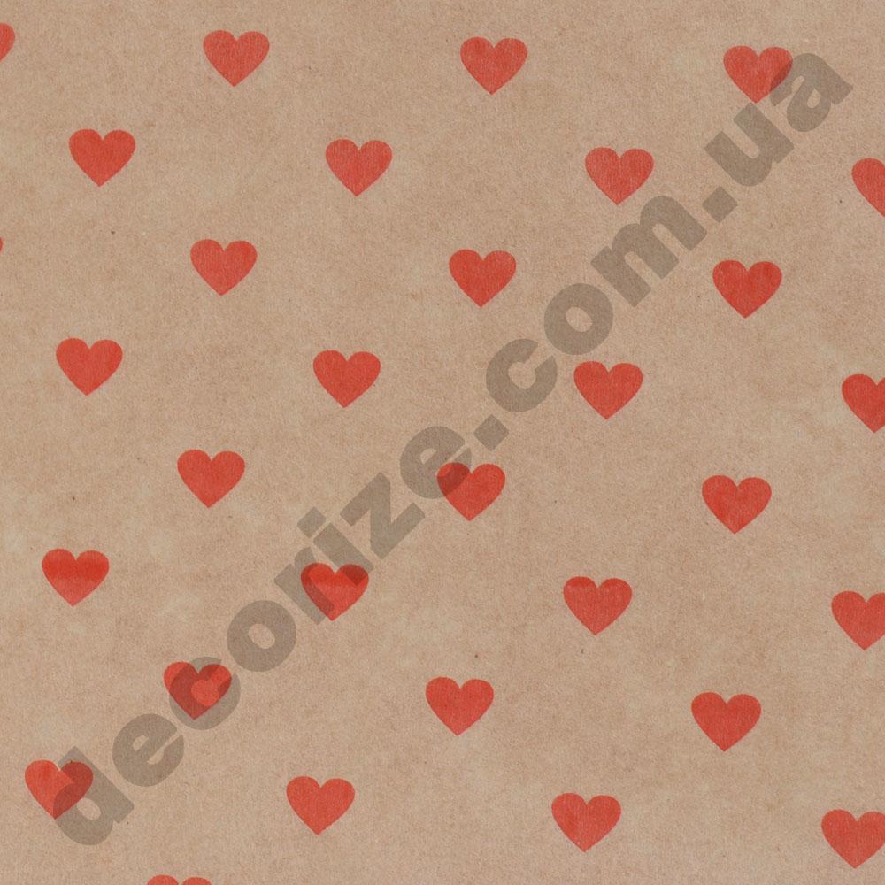 "Бумага крафт ""красные сердечки"" 2 метра"