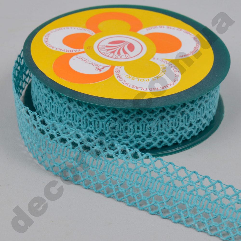 Декоративна стрічка з плетінням вузька (224166) бірюзова
